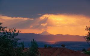 Mount Athos basking in the sun